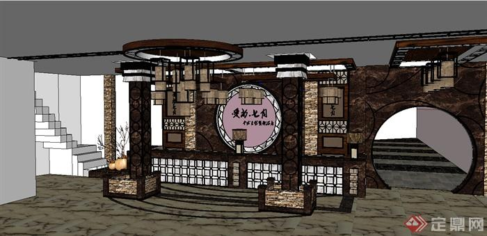 某一现代中式风格酒店大堂装饰设计su模型[原创]