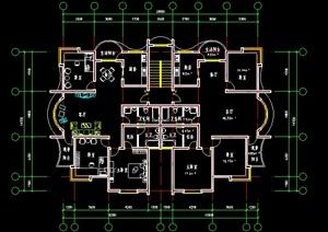 多层住宅一梯两户户型平面图 -户型图DWG建筑规划设计方案素材下载