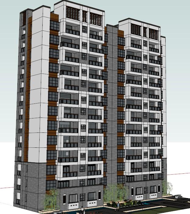 两栋新中式高层住宅楼建筑su模型图片