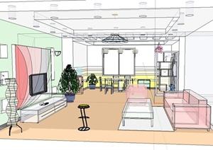 某住宅客厅装饰设计SU(草图大师)模型(1)