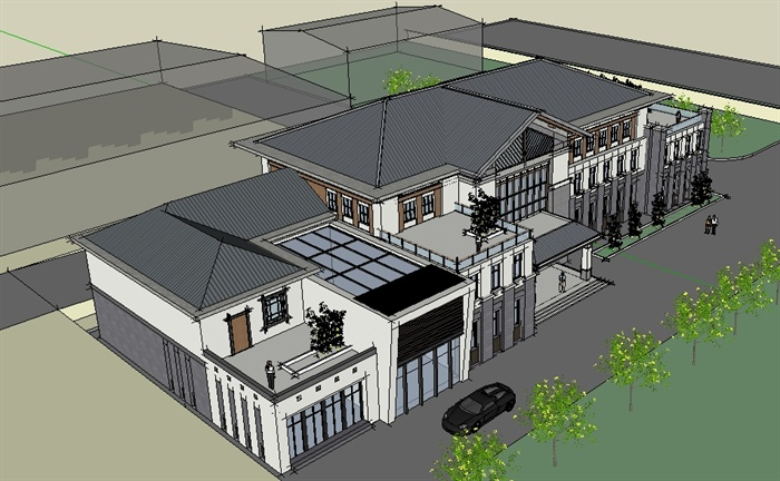 某新中式高档餐饮会所建筑设计su模型[原创]