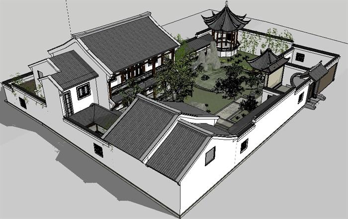 某中式小别墅建筑设计su模型(带庭院景观)[原创]