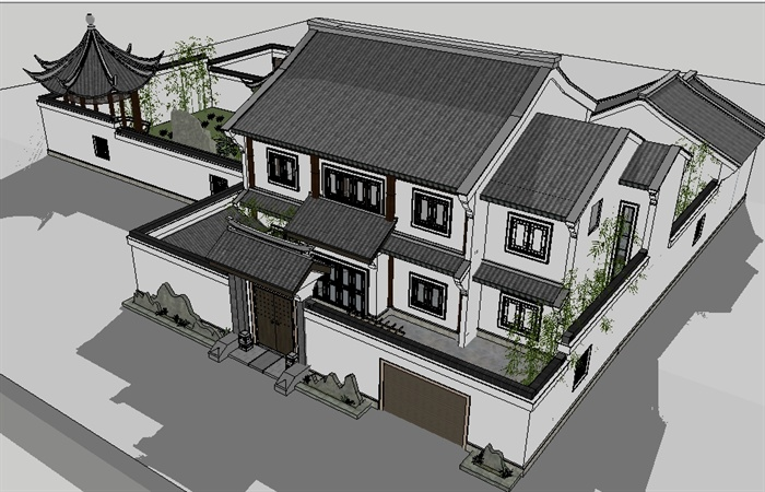 某中式小别墅建筑设计su模型1图片