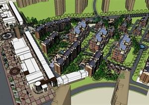 某新古典商业街+英式别墅区规划设计SU(草图大师)模型