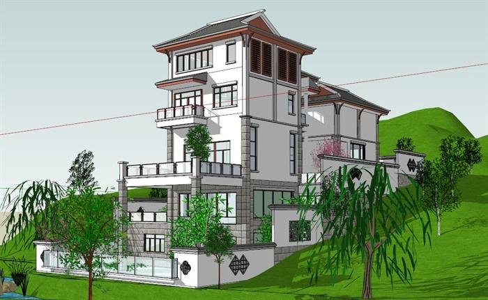 某现代中式邻水别墅建筑设计su模型[原创]