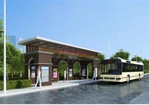 某滨江路公交站台方案设计(含效果图)