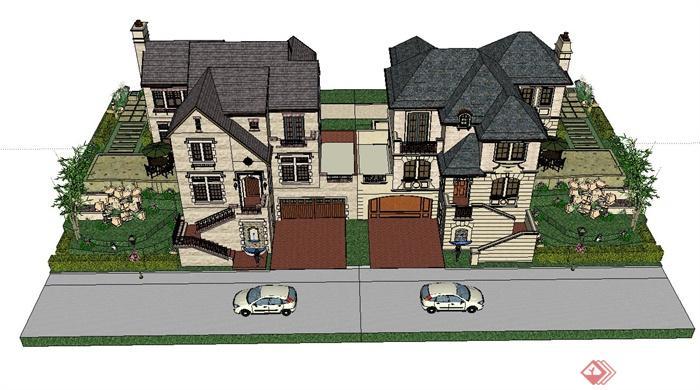 某联排别墅建筑设计su模型