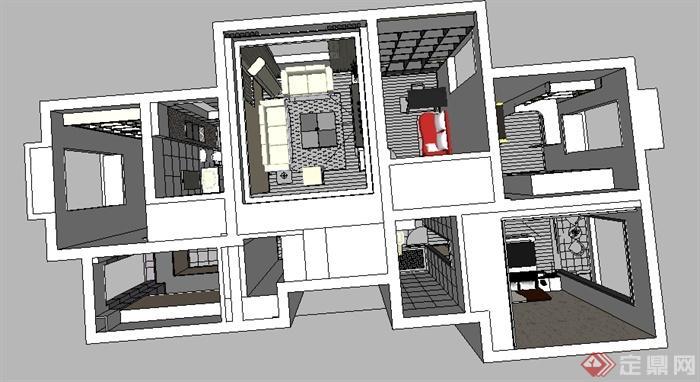 某室内空间三室两厅设计su模型(3)