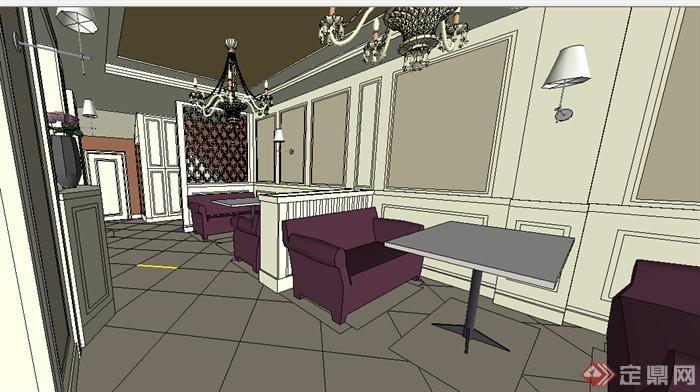某欧式养生馆室内装饰设计方案su模型[原创]