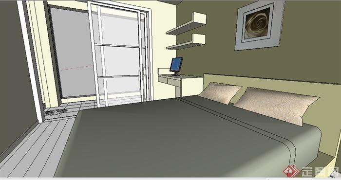 某现代住宅卧室室内设计su模型素材[原创]