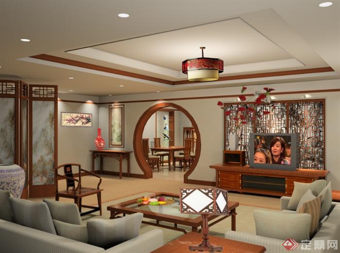 某现代中式客厅室内空间设计效果图psd格式[原创]