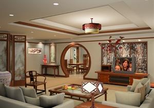 某现代中式客厅室内空间设计效果图PSD格式