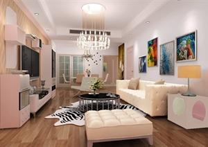 两种不同颜色客厅装饰设计效果图