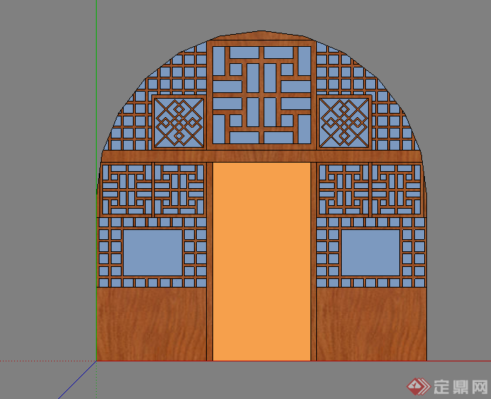 某中式窑洞门窗设计su模型素材
