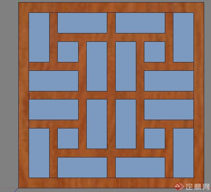 门窗装饰SU模型——木制格栅窗户(1)