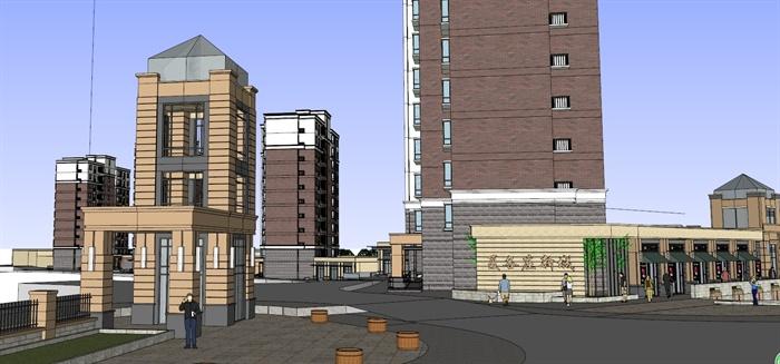 某新古典多层住宅小区及设计字体建筑设计SU企业网站临街商业大小图片