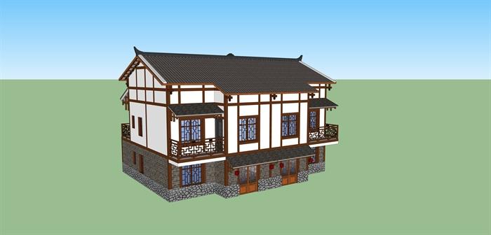 某现代中式新农村民居民宅建筑设计su模型图片