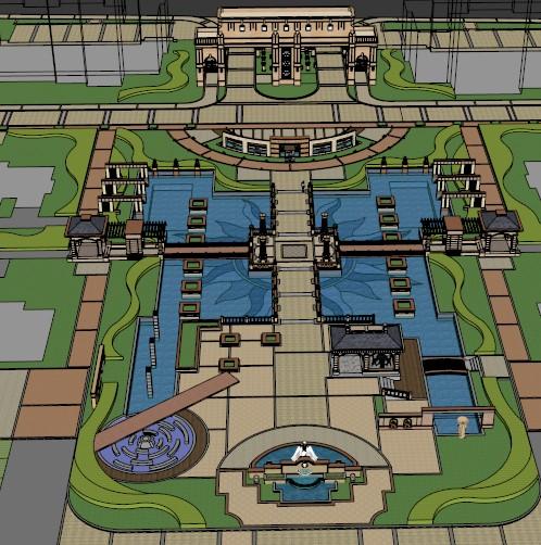 某小区入口大门及中心广场景观设计su模型