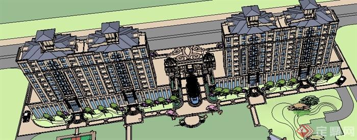 某欧式住宅小区沿街商铺建筑su模型(含入口大门)