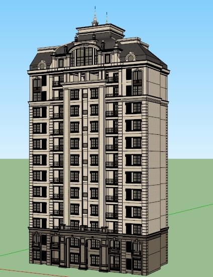 某法式风格小高层住宅楼建筑设计su模型图片