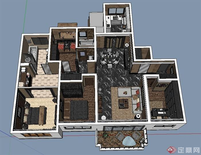 某三室一厅住宅装饰设计su模型,装饰布局简洁,效果典雅隆重,