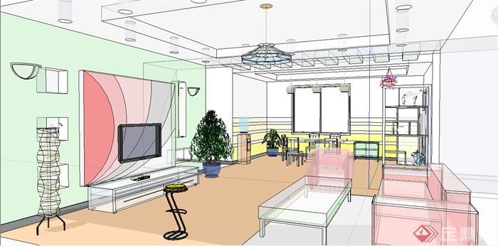 某住宅建筑室内空间设计su模型[原创]图片