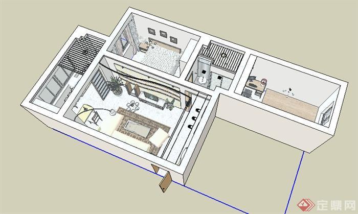 某地一住宅室内空间设计su模型参考[原创]