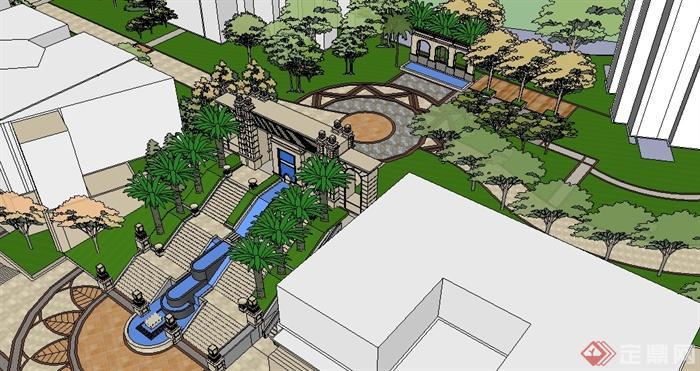 某简欧小区的模型景观设计(含入口处)su风格[原鸡鸭名片设计图片