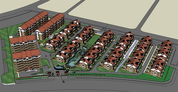 某欧式住宅小区联排住宅建筑设计SU模型,模型设计整体美观大方,细节处理较好,材质处理得当,模型制作完整细致,色彩搭配简洁,设计内容也比较丰富,值得参考借鉴。