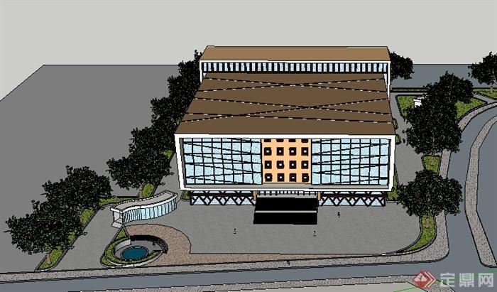 某现代小型商业建筑设计方案su模型(2)