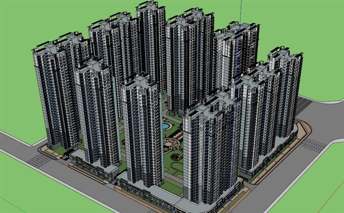 某现代风格高层住宅小区建筑设计su模型