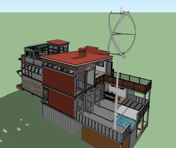 某集装箱别墅模型建筑设计SU别墅[原创]被淹住宅汤逊湖边的图片