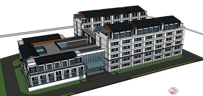 某现代敬老院建筑设计方案SU模型[原创]景观设计与环艺图片