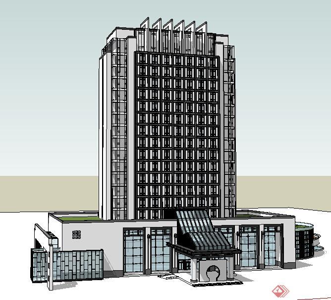 某现代中式酒店建筑设计方案su模型8(1)图片