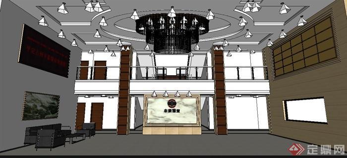 某工装项目煤矿办公楼室内装饰设计 效果图 施工图 SU模型