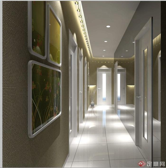 某美容院室内装饰设计SU模型 效果图和施工图