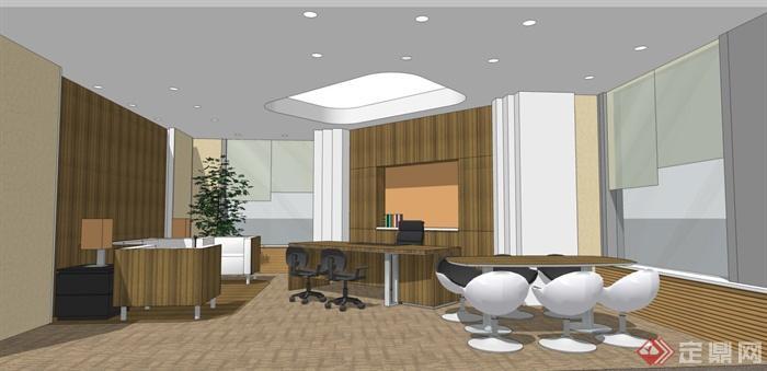 某办公室室内装饰全套精装效果图 施工图 SU模型 预算