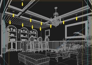 某地中海风格客厅吧台室内装饰3DMAX模型