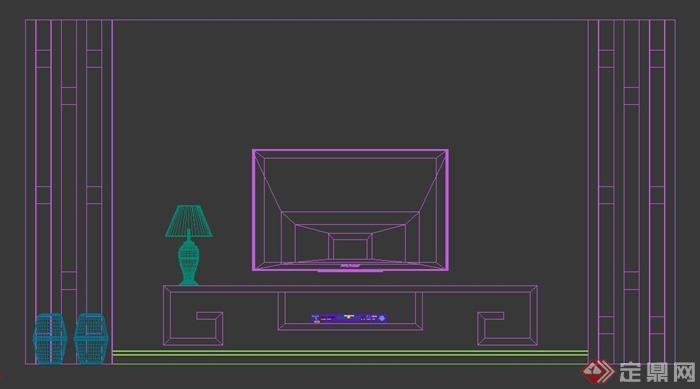 电视背景墙3dmax模型素材-79(3)