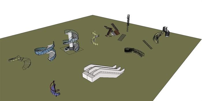 各种楼梯设计的SU模型