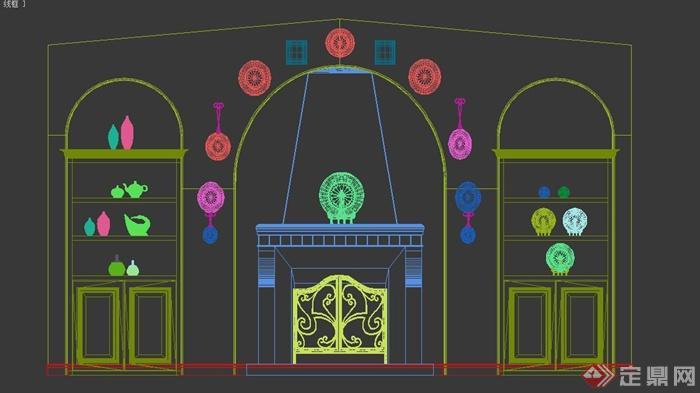 电视背景墙3dmax模型素材-107(3)