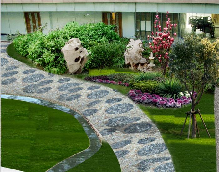 某厂区内办公楼周边景观绿化设计 psd格式效果图 cad图纸 jpg效果图