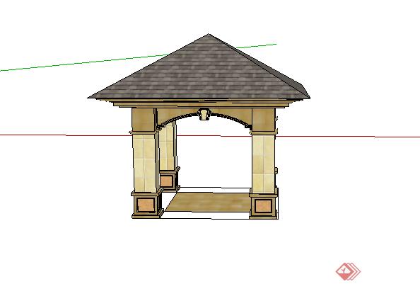 某欧式四角亭设计su模型素材图片