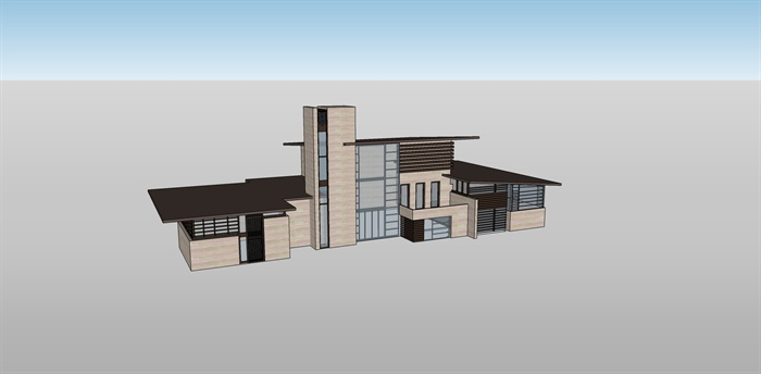 某小会所建筑设计su模型,建筑设计造型独特,现代感较强,模型制作精细