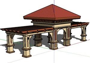 园林景观之新古典风格廊亭组合设计SU(草图大师)模型