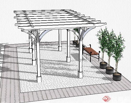 园林景观之现代风格廊架设计su模型12图片