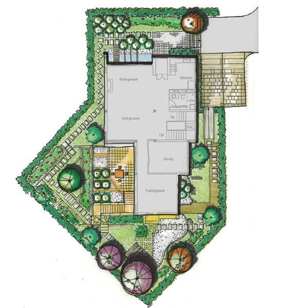 某独栋别墅户型图及庭院景观设计[原创]图片