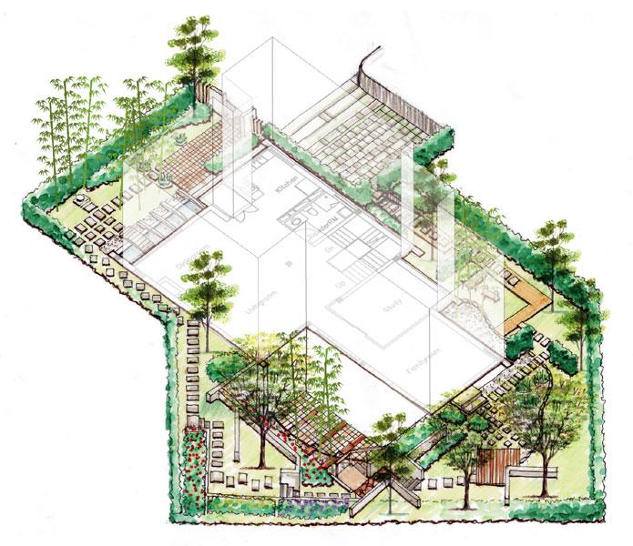 某独栋别墅户型图及庭院景观设计[原创]