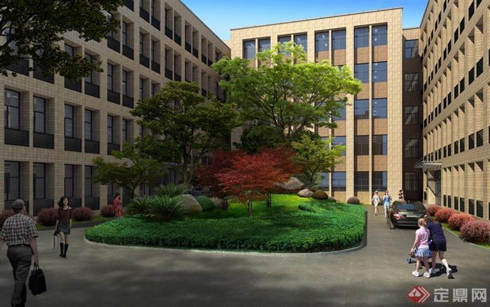 某教学楼中庭景观设计效果图PSD分层素材图片
