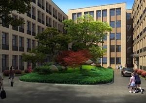 某教学楼中庭景观设计效果图PSD分层素材-定鼎网 最专业的园林景观图片